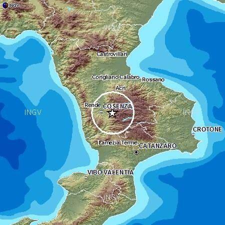 Terremoto di magnitudo 4.4 nel Cosentino