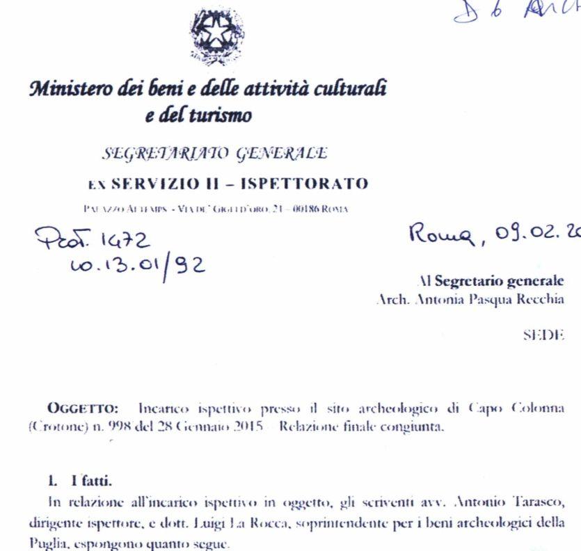 Capo Colonna, i tecnici del ministero sconfessano il ministro