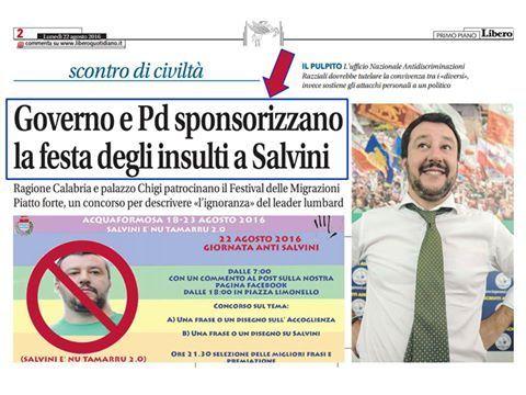 Per Salvini ad Acquaformosa sono «sfigati»