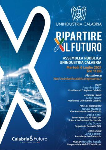 La locandina dell'assemblea di Unindustria Calabria in programma martedì 6 luglio