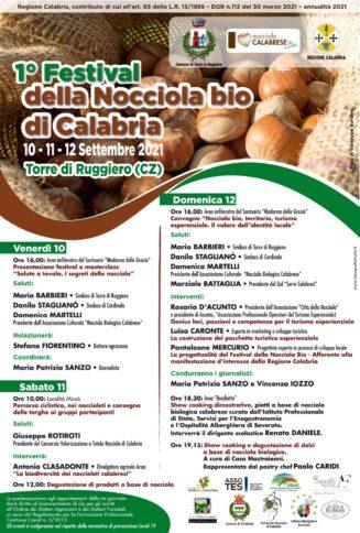 """La locandina con gli appuntamenti del 1° festival della """"Nocciola Bio di Calabria"""""""
